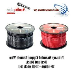 10 GAUGE WIRE RED & BLACK POWER GROUND 100 FT EACH PRIMARY S