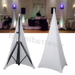 New White Double Sided Stretch Tripod Speaker Stand Scrim DJ