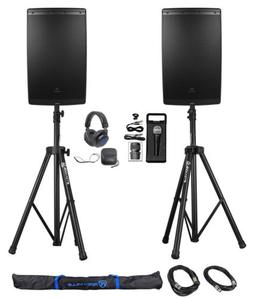 "JBL EON615 15"" 2000 Watt Powered DJ PA Speakers+Stands+Cabl"