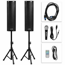 2000W Set of 2 Bi-Amplified Bluetooth Speakers PA System wit