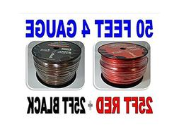 4 Gauge 50' BLACK and 50' RED Car Audio Power Ground Wire Ca
