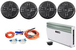 "4 Rockville RMSTS65B 6.5"" 1600w Marine Speakers+MB Quart 5-C"