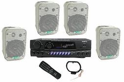 "4) Pyle 5.25"" Outdoor Speakers + PT260A 200W Stereo Home The"
