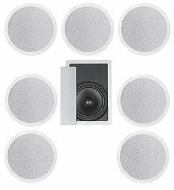 """8 FLUSH MOUNT IN-CEILING SPEAKERS 7.1 HOME THEATER 8"""" SUBWOO"""