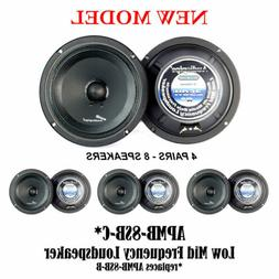 4 PAIR Audiopipe 8 250W Low Mid Frequency Loud speakers FULL