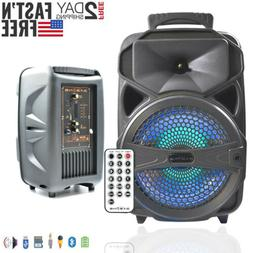 """8"""" Party Bluetooth Speaker System Led Portable Loud up to 10"""