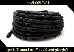 "Black 200' Feet 1/4"" Split Loom Tubing Wire Conduit Hose Cov"