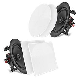 "Pyle 6.5"" 2-Way Midbass Speakers - Pair of In-Wall/In-Ceil"