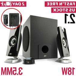 Computer PC Speakers 2.1 Desktop with Subwoofer Audio Laptop