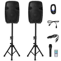 "Dual 12"" 2-way 1600W Powered Speakers w/ Bluetooth Mic Speak"