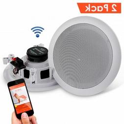 Dual 6.5'' Bluetooth Ceiling, Wall Speakers, 2-Way Flush