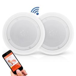 Dual 8'' Bluetooth Ceiling / Wall Speakers, 2-Way Flush