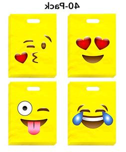 LiveEco Emoji Party Favor Bags for Kids, Pack of 40, Great f