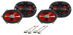 Boss 5x7 Front+Rear Factory Speaker Replacement Kit for 1999