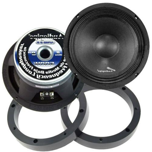 2 Pairs 500W Mid Speakers with Plastic Spacer