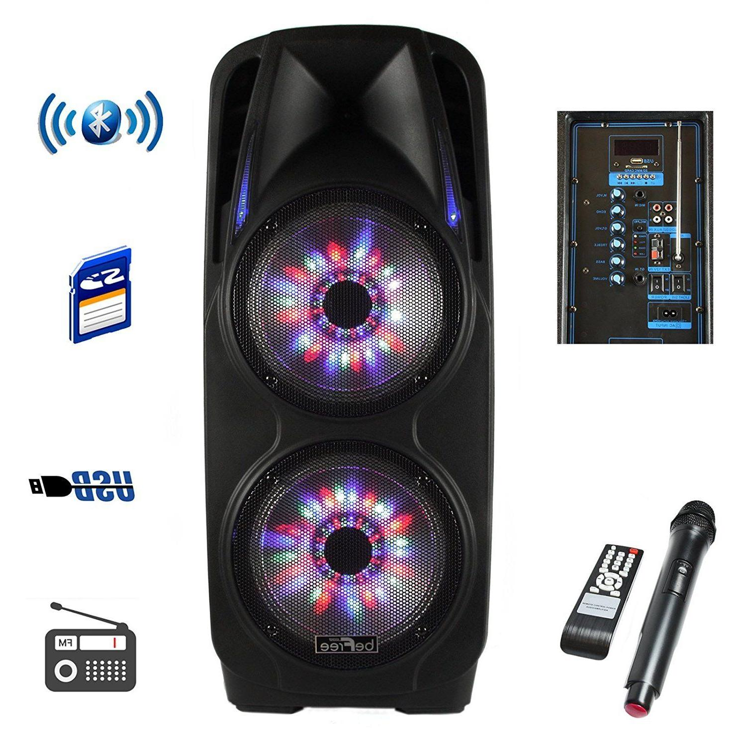 "4000 watts 10"" DJ Portable Bluetooth Powered PA Speaker Party mic"