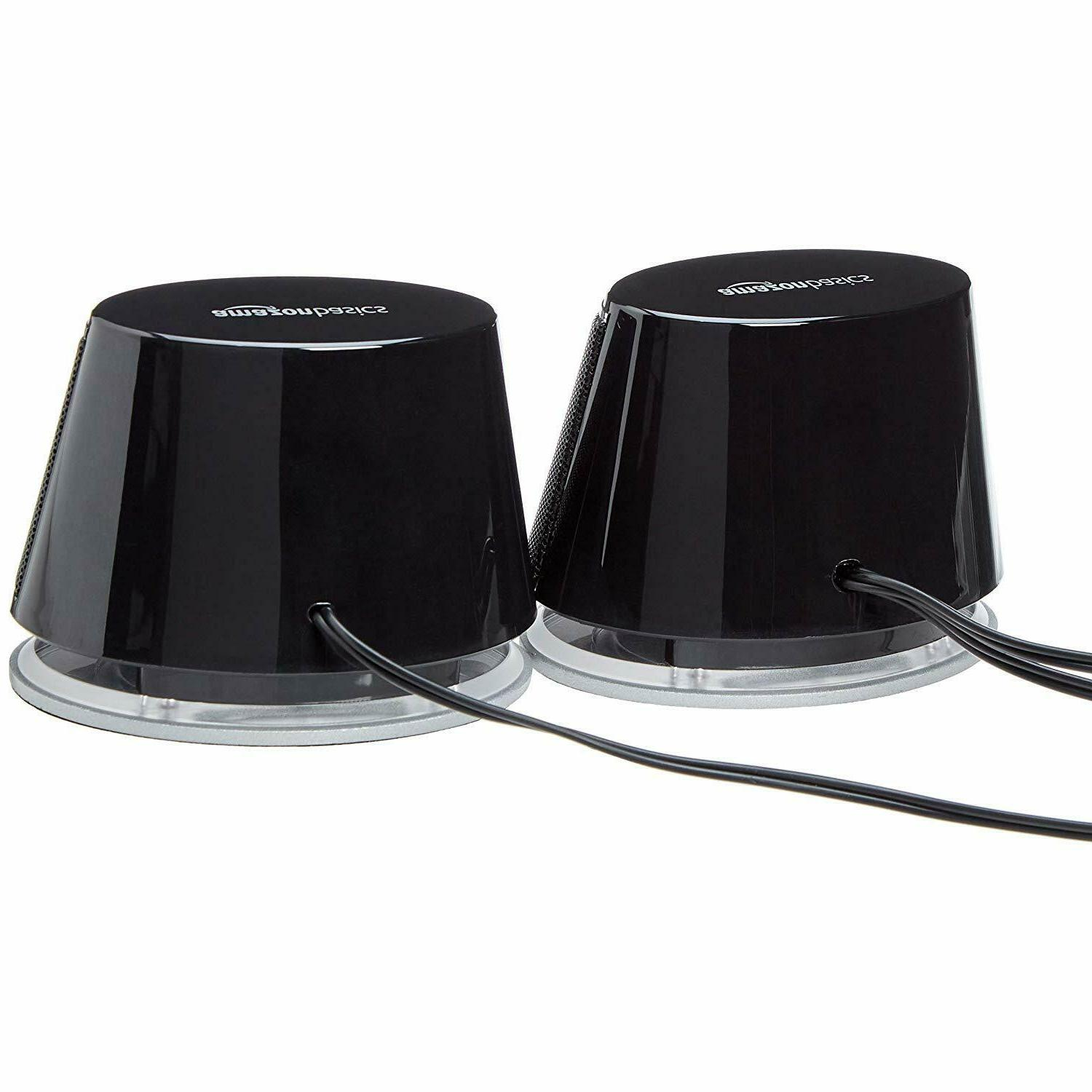 AmazonBasics USB-Powered PC Speakers with Sound | Black