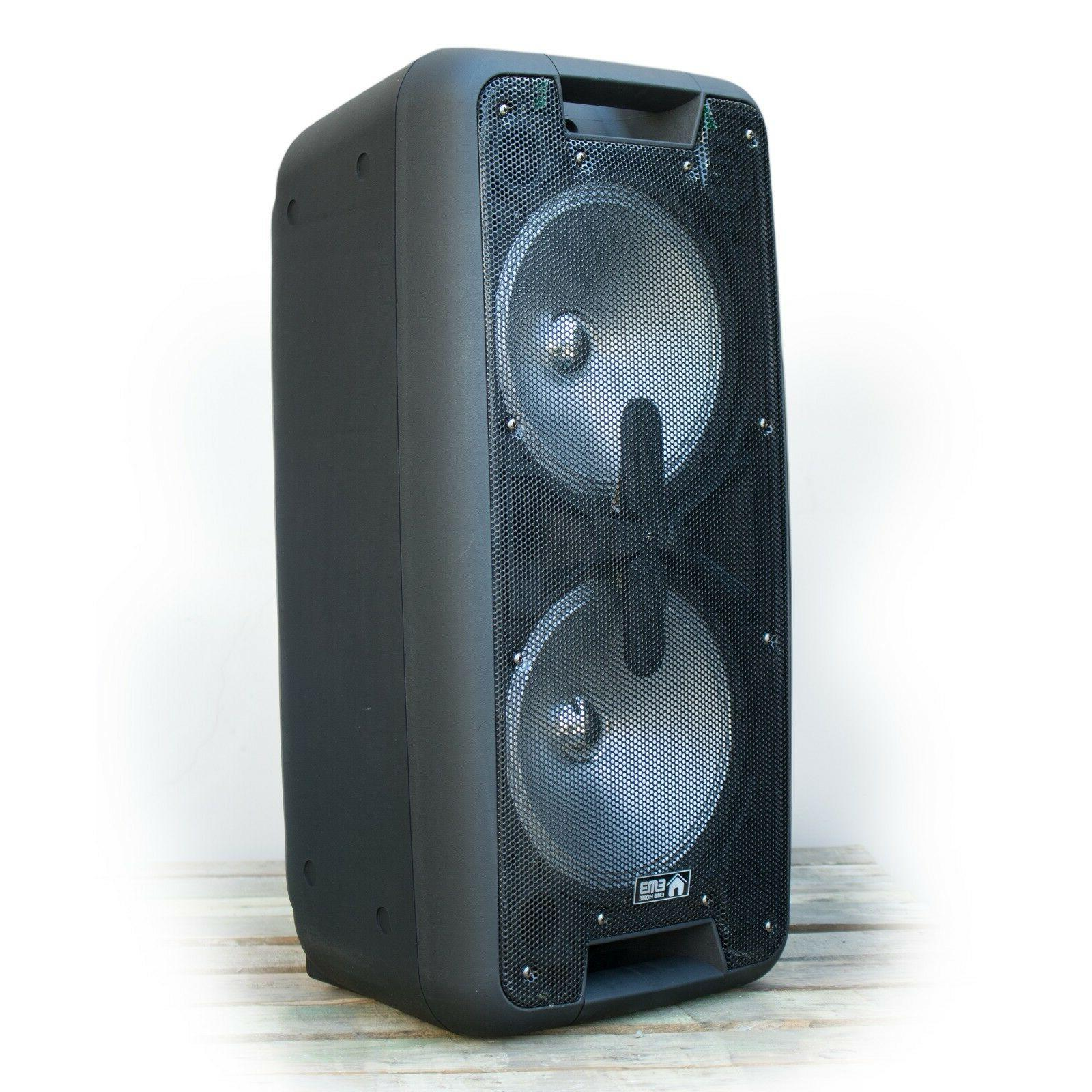 EMB DUAL Watts Portable Powered Party PA w/ Bluetooth SD