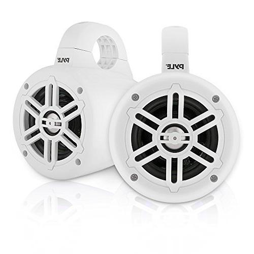 Speakers 4 Inch Dual Speaker Set with 300 Output - Boat System Tweeters & Clamps -