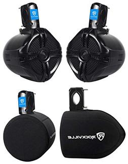 "Pair Rockville RWB65B 6.5"" Black 250 Watt Marine Wakeboard T"