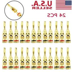 Plugs Audio Jack Speaker 24Pcs Gold 24K Male Banana Wire Cab
