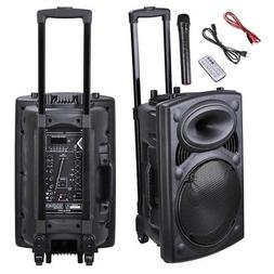 Portable Active PA Speaker w/ Mic Guitar AMP Bluetooth USB S