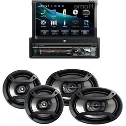 """Dual Single DIN Bluetooth Receiver w 7"""" Flip Out Touchscreen"""
